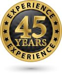 33009639 - 45 years experience gold label, vector illustration